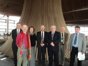 Carno and Bow Street delegation gathered in Senedd building