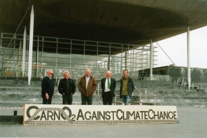 Carno delegation with banner. Left to right: Huw Thomas, Dai Jones, David Swan, Tony Burton, Rob Ritchie
