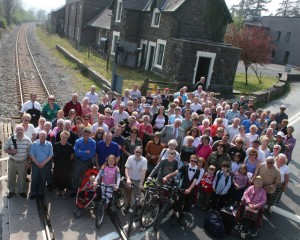 Over 100 prospective passengers at Carno station, April 2007